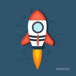 Creative rocket on infographic elements background for Business Start Up and Development concept.