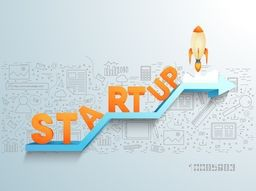 3D Text Start Up with flying rocket on arrow, Creative doodle style background, Vector illustration for new business project launch in market.