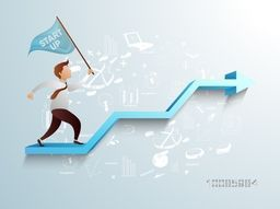 Businessman holding start up flag and walking on 3D growth arrow on infographic elements background, Vector illustration for New Business Project Start Up concept.