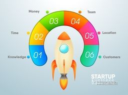 Colorful infographic element with flying rocket for Business Start Up concept.