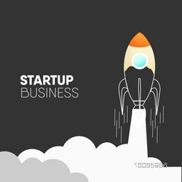 Creative background with illustration of a rocket flying above clouds for New Business Project Start Up and Development Process.