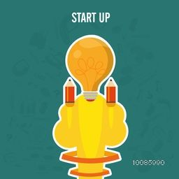 Creative rocket design with light bulb for Start Up New Business Project, Can be used as sticker, tag or label design also.