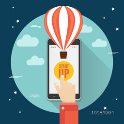Illustration of businessman hand on smartphone screen with flying hot air balloon, Flat style vector for New Business Project Start Up.