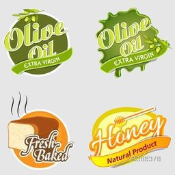 Set of four stickers design of Olive Oil, Fresh Baked Food and Honey.