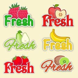 Set of Fresh Fruits Stickers, Creative Typographic Labels of Raspberry, Apple, Pear, Banana, Cranberry and Kiwi Fruits, Vector collection for Food and Drink concept.