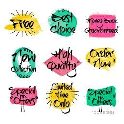 Sale and Discount Labels set, Creative handwritten lettering design, Colorful Stickers, Tags or Badges collection, Vector illustration.