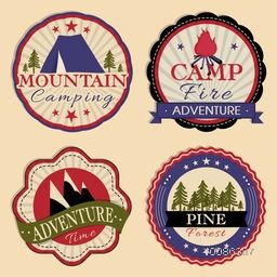 Vintage set of Mountain Camping Stickers, Summer Camp Labels, Outdoor Adventure Tags and Travel Badges. Vector illustration of Camp Tent, Camp Fire, Mountains and Pine Forest in retro style.