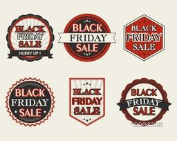 Sale stickers, tags or labels collection, Set of Black Friday Sale text design, Vintage vector illustration.