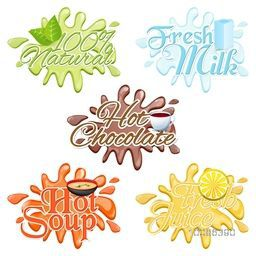 Set of drinks labels - 100% Natural, Fresh Milk, Hot Chocolate, Hot Soup and Fresh Juice inscription on splash.