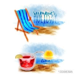 Creative hand drawn illustration of beach chair and fresh juice for Summer Holiday concept.