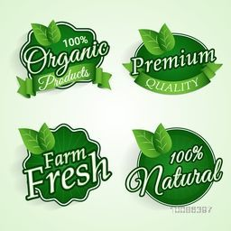 Set of Green Stickers, Tags or Labels design of Farm Fresh, 100% Organic and Natural Products or Foods, Creative lettering design for Healthy Food concept.