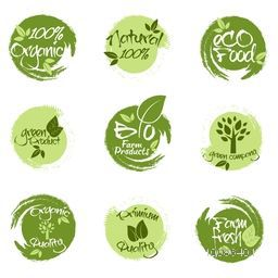 Set of Green Stickers, Tags or Labels design of Farm Fresh, 100% Organic, Natural, Eco and Bio Products, Creative lettering design for Healthy Food concept.