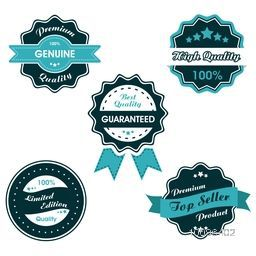 Vintage Labels set, Collection of six creative Tags, Rounded Stickers or Badges design with Ribbon, Vector illustration.