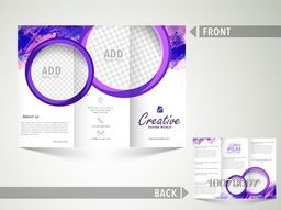 Professional Business Trifold Brochure, Template or Flyer design with blank space for your image.
