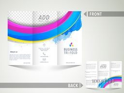 Creative abstract Business Trifold Brochure, Template or Flyer design with blank space for your image.