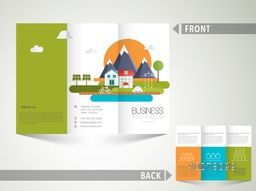 Creative Ecological Trifold Brochure, Template or Flyer design with city and road view for Business purpose.