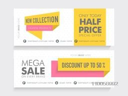Mega Sale website header or banner set with 50% discount on new collection.