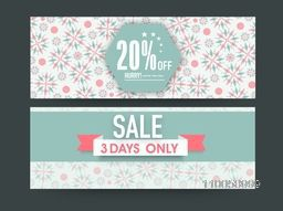 Floral design decorated Sale website header or banner set with 20% discount offer for 3 days.