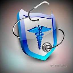 Abstract medical background with caduceus and stethoscope.