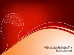 Medical concept with illustration of human brain on red background.
