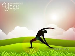 Female silhouette in yoga posture on nature background.