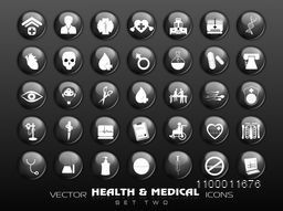 Set of creative Medical icons on grey background.