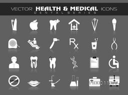 Creative Medical icons set on grey background.