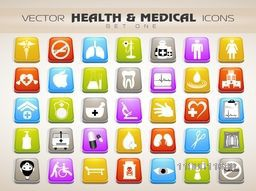 Creative colorful Medical icons set.
