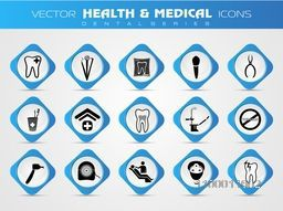 Set of various creative icons for Health and Medical concept.