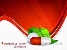 Medical background with herbal capsules and leafs.