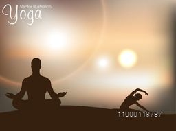 Human silhouette in yoga posture on nature background.