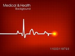 Medical and Health concept with heart beat cardiogram on shiny red background.
