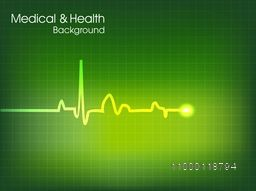 Illustration of cardiogram on abstract green background for Health and Medical concept.