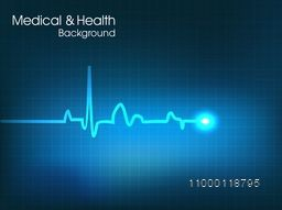 Heart beat cardiogram on blue background for Health and Medical concept.