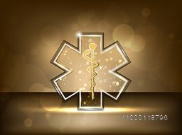 Creative Medical symbol on shiny brown background.