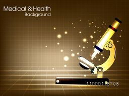 Creative glossy microscope on abstract background for Medical and Health concept.