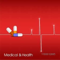 Abstract Medical Background with medicines and cardiogram.