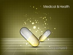 Medical and Health concept with capsules on abstract background.