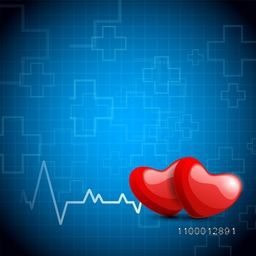 Glossy red hearts on abstract medical background.