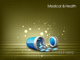 Medical and Health concept with illustration of capsules coming out from box on abstract background.