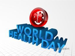 3D glossy text World Health Day with red caduceus medical symbol on abstract background.