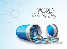 World Health Day concept with pills coming out from pills box on molecule background.
