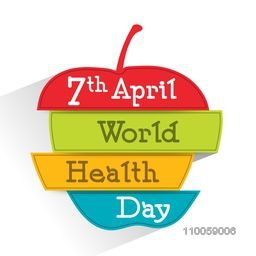 Stylish text 7th April World Health Day on colorful apple shape, can be used as poster, banner or flyer.