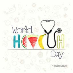 World Health Day concept with stylish text made by fruits and stethoscope on stylish white background.