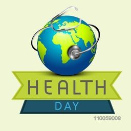 Shiny globe with stethoscope for World Health Day, can be used as poster, banner or flyer design.