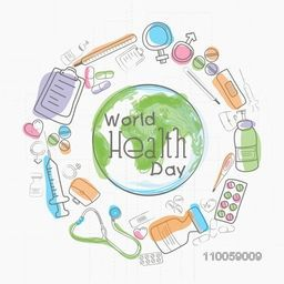 World Health Day concept with globe surrounded by medical objects on white background.