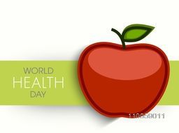 World Health Day with red apple for healthy life, can be used as poster, banner or flyer design.