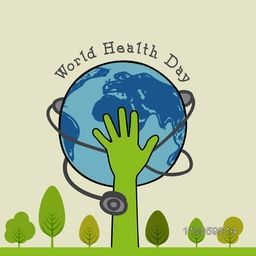 World Health Day concept with human hand holding globe.