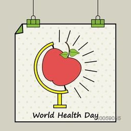 Hanging poster or banner with red apple on globe stand for World Health Day concept.