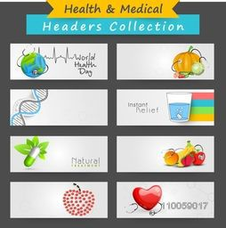 Creative website header or banner set for World Health Day.